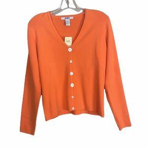 NWT Acorn Orange Silk and Cotton Blend Multi-size Button Cardigan Size Medium